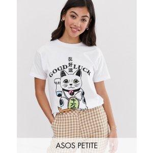 ASOSDESIGN Petite t-shirt with lucky cat print |
