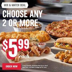 $5.99限今天:2个Topping的大号Pizza 店取神价