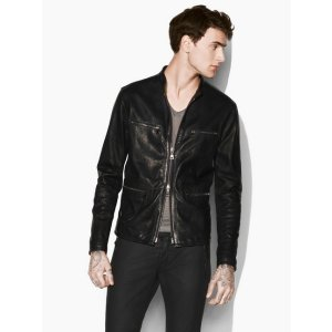 LEATHER JACKET WITH CHAIN DETAIL
