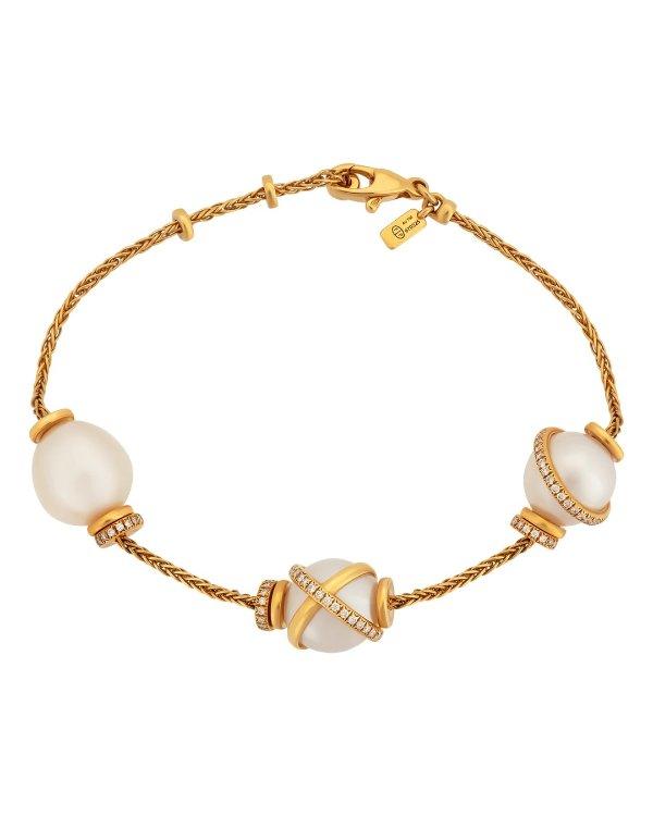 0.46克拉钻石18K黄金珍珠手链