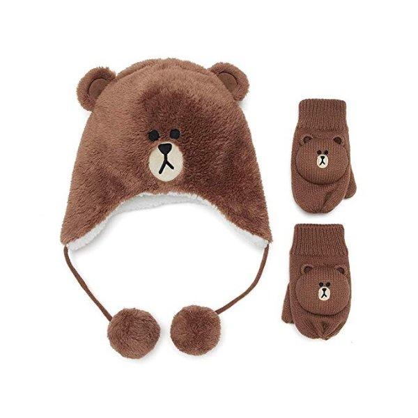 布朗熊 儿童帽子手套