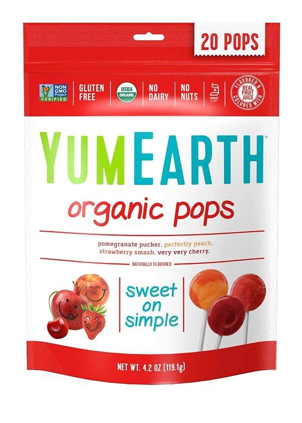 有机天然水果棒棒糖 混合果味 20支装
