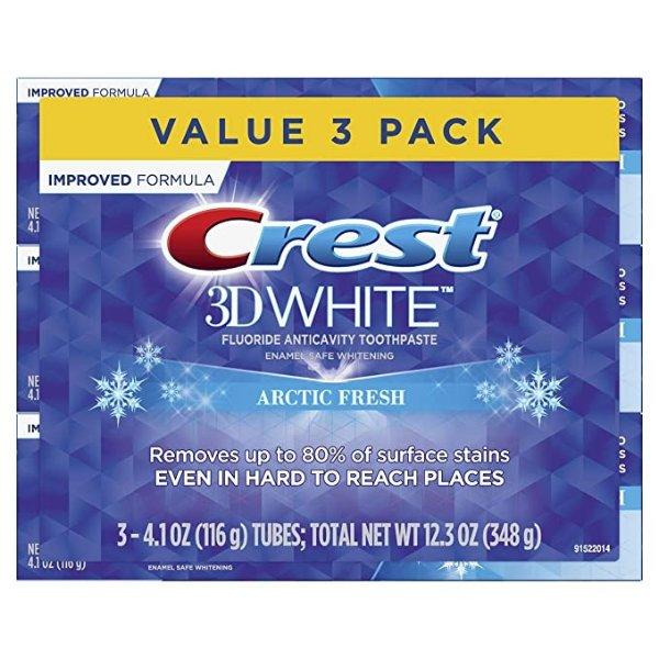 3D 美白牙膏 4.1 oz, 3只装