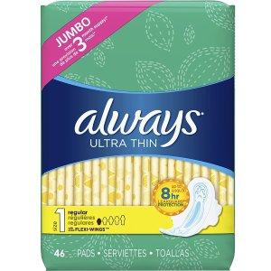 $6.64 第二件半价 平均$4.98/包Always 超薄日用护翼卫生巾 46片