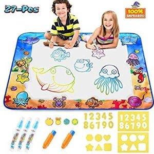 CPSYUB 儿童大号可折叠魔法水画毯 带数字形状模板