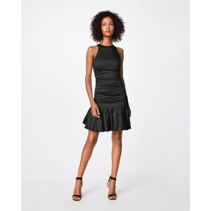 Nicole MillerSolid Cotton Metal Ruffle Hem Dress