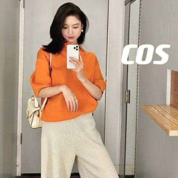 橘色polo短袖