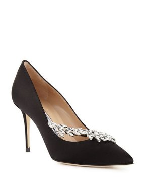 Neiman Marcus Nadira Jeweled 90mm丝绸高跟鞋