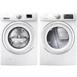 SamsungSAWADRGW11 Side-by-Side Washer & Dryer Set with Front Load Washer and Gas Dryer in White