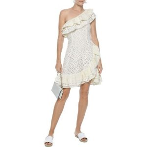 Love SamIsland one-shoulder ruffled broderie anglaise cotton mini dress