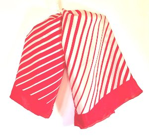 Red Striped Scarf  Red Orange Striped Scarf  Large Silk
