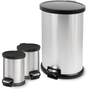 Mainstays 3-Piece Stainless Steel 1.3 Gal and 8 Gal Waste Can Combo
