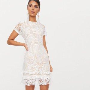 White Frill Hem Lace Bodycon Dress