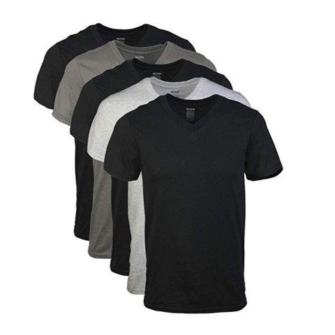 现价$11.97(原价$14.99)Gildan 男士纯棉V领T恤 经典2色5件装