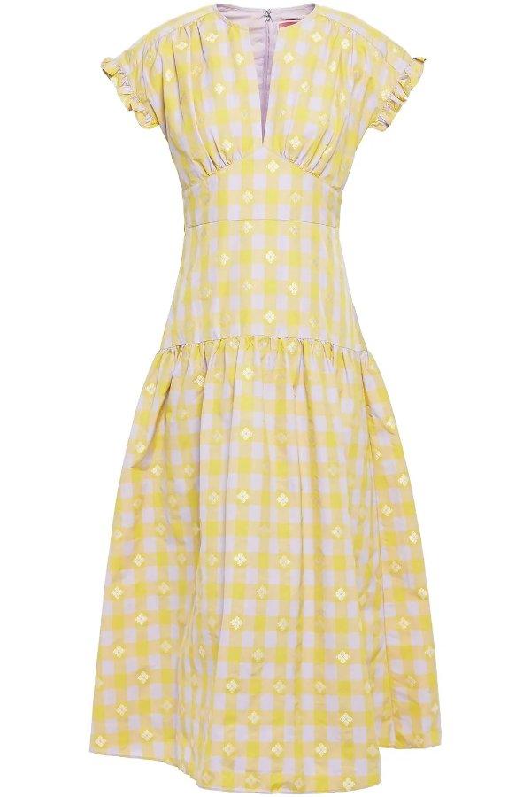 黄白格连衣裙