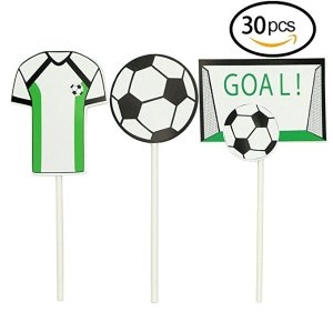 YuBoBo Soccer Toppers,2018 Soccer Series Decoration 30PCS Appetizer/Food Picks, Afternoon Desserts Decoration On Hamburger, Desserts, Appetizer, Cakes, Cupcake Toppers