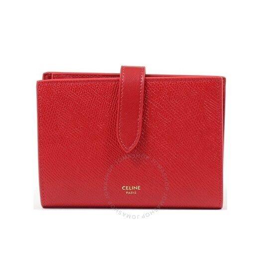 Ladies Red Medium Strap Wallet in Grained Calfskin