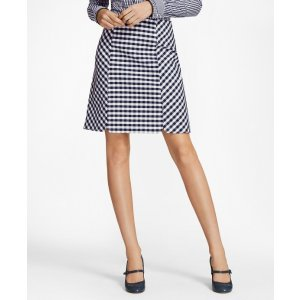 Gingham Double-Weave Skirt - Brooks Brothers
