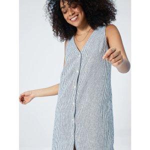 Print V-Neck Dress in Linen