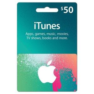 $42.5 娱乐一卡搞定$50 App Store & iTunes 电子礼卡