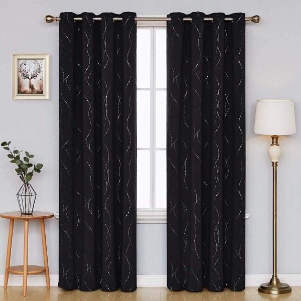 52 x 84 Inch 黑色遮光窗帘 2片