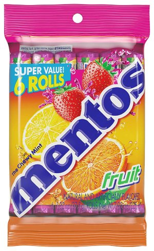 $3.22Mentos Chewy Mint Candy Roll Fruit 1.32oz (Pack of 6)