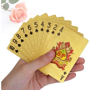 低至7.5折 24K金扑克$15.99趣味扑克牌 塑料材质防水耐用无折痕 星战主题土豪金银牌