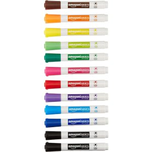 Amazon Basics Dry Erase White Board Markers 12 Pack, Assorted Colors