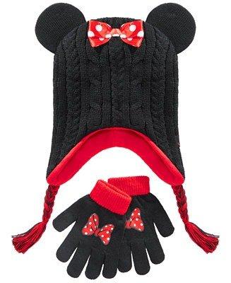 米妮帽子手套套装