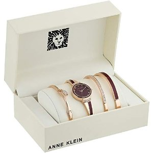 Anne KleinWomen's AK/2716RBST Swarovski Crystal Accented Rose Gold-Tone and Burgundy Watch and Bangle Set
