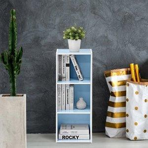 Furinno 11003 3-Tier Open Shelf Bookcase, White/Light Blue