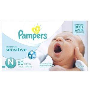 Pampers需用码PAMPERS5敏感纸尿裤 N-4号 62-80个量贩装