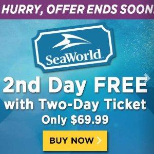 第二天门票免费 省$113.99加州圣地亚哥海洋世界门票促销 SeaWorld® San Diego