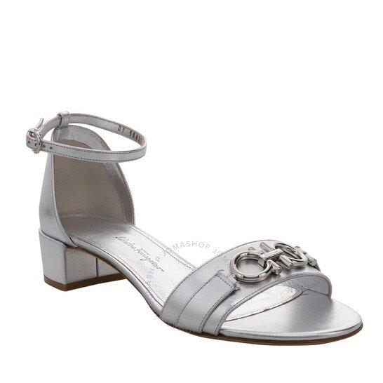 Gancini 银色高跟鞋