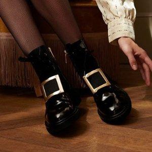 全场8.5折+包税Roger Vivier 美鞋专场 爆款方扣靴子超快断码