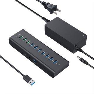 AUKEY 10-Port Powered USB Hub 3 Charging Ports, 7 USB 3.0 Data Ports