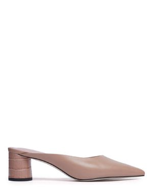 NICK - ASYMMETRIC CYLINDER HEEL MULES | Pedder Red