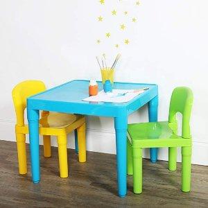 $29.84(原价$38.99) 近史低价Tot Tutors 儿童方桌+2把椅子套装