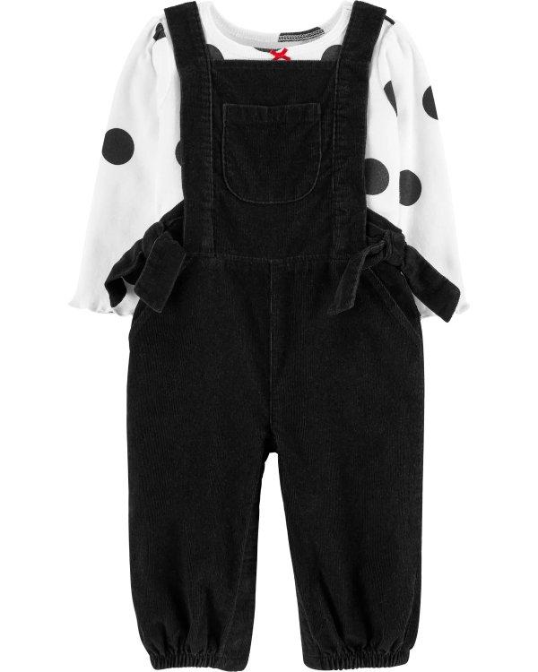 婴儿波点T恤+灯芯绒背带裤套装