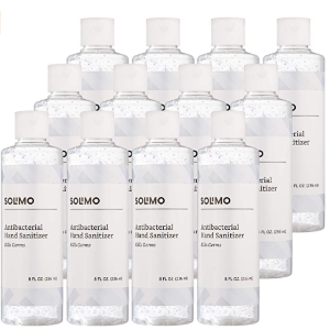 Solimo 70% Ethyl Alcohol Unscented Flip Cap 8oz Hand Sanitizer that dries quickly (12 pack)