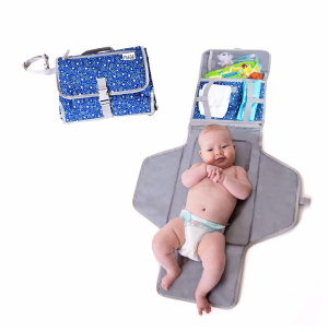 Baby Portable Changing Mat | Lightweight Travel Diaper Station Kit with Waterproof and Cushioned Pad | Foldable Pad with Pockets