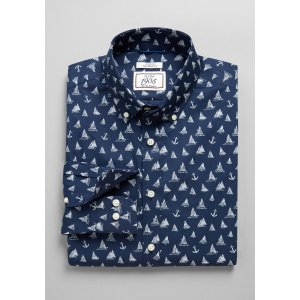 1905 Collection Tailored Fit Button-Down Collar Boats & Anchors Sportshirt - 1905 Sportshirts | Jos A Bank
