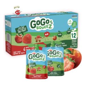$5.97(原价$8.99) 每袋$0.5史低价:Go Go squeeZ 纯鲜果泥12袋 苹果草莓 不加糖营养美味
