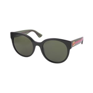 GucciGG0035S 002 Black Optyl Round Women's Sunglasses w/Red-Green Glitter Temples