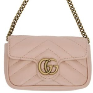 $530Gucci Pink GG Marmont Coin Case Bag