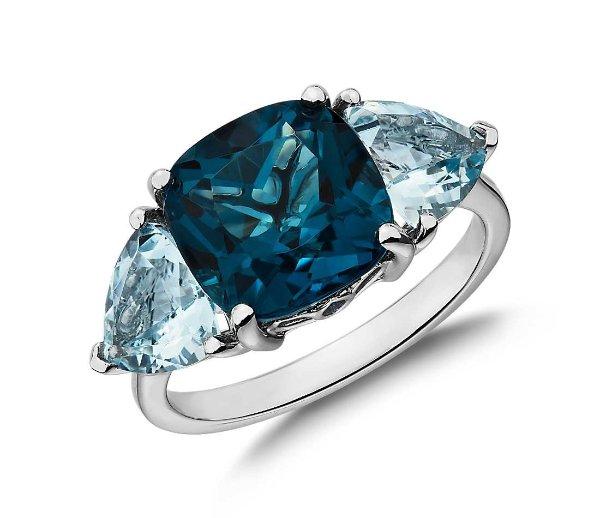 14k白金蓝宝石戒指