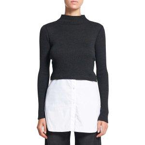 Theory羊毛混纺拼接衬衫