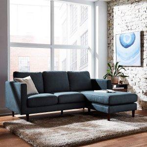 Rivet 布艺三人沙发组 蓝色