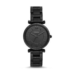 FossilCarlie Three-Hand Black Stainless Steel Watch