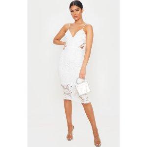 White Lace Strappy Cut Out Midi Dress